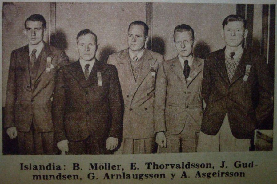 Baldur Möller og hin frækna skáksveit Íslands í Argentínu 1939.
