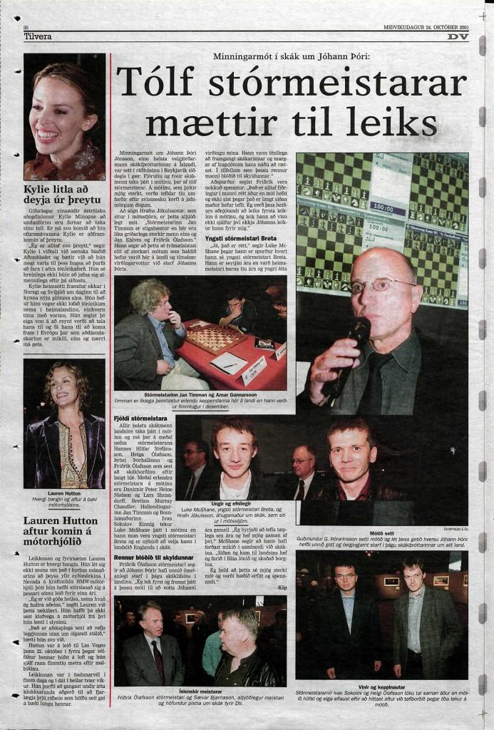 2001 Jóhann Þórir úrklippa